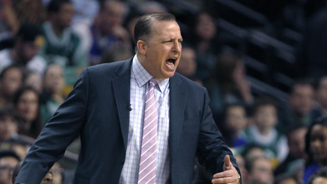 Chicago Bulls coach Tom Thibodeau calls to his players during the first half of an NBA basketball game against the Boston Celtics in Boston on Friday, Jan. 18, 2013. (AP Photo/Charles Krupa)