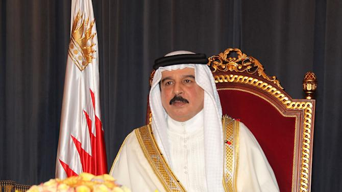 "In this  photo released Sunday, Aug. 28, 2011, by the Bahraini government's Bahrain News Agency, Bahrain's King Hamad bin Isa Al Khalifa is seen during a nationally televised speech delivered on the occasion of the final days of the Islamic holy month of Ramadan. Referring to recent months of unrest and government crackdown, King Hamad said not everyone would stand trial, adding ""there were those who were charged with abusing us and senior officials in Bahrain and we today announce that we forgive them."" (AP Photo/Bahrain News Agency) ** EDITORIAL USE ONLY, NO Sales **"