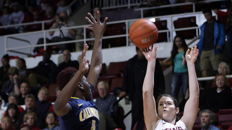 Stanford 's Sara James (21) shoots over California 's Afure Jemerigbe (2) during the first half of an NCAA college basketball game in Stanford, Calif., Sunday, Jan. 13, 2013. (AP Photo/Marcio Jose Sanchez)