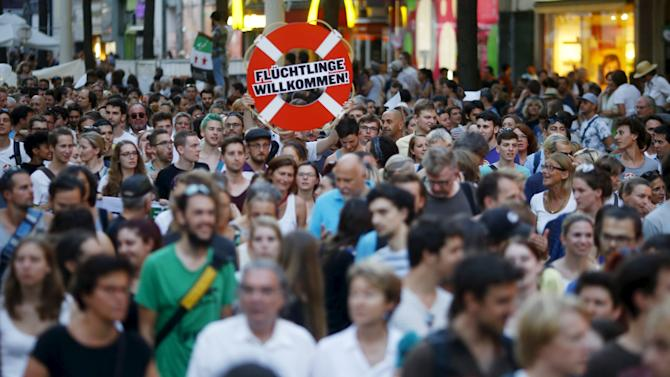 Protestors demonstrate for a change in the refugee policy in Europe, in Vienna
