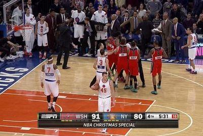 The Knicks didn't bother helping Quincy Acy fight John Wall