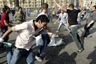 Egyptian anti-Mubarak protesters demonstrate in Cairo's Tahrir square