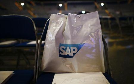 A bag with SAP logo is pictured before the company's annual general meeting in Mannheim