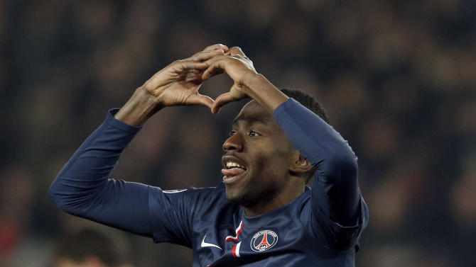 Paris Saint Germain's Blaise Matuidi celebrates his goal during his Champions League quarterfinal soccer match against FC Barcelona in Paris,Tuesday, April 2, 2013. (AP Photo/Christophe Ena)