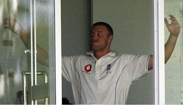PERTH, AUSTRALIA - DECEMBER 17:  Andew Flintoff of England jokes around in the pavillion during day four of the third Ashes Test Match between Australia and England at the WACA on December 17, 2006 in