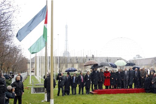 Palestinian President Mahmoud Abbas, UNESCO Director General Irina Bokova and officials attend flag-raising ceremony for Palestinian flag at UNESCO Headquarters in Paris