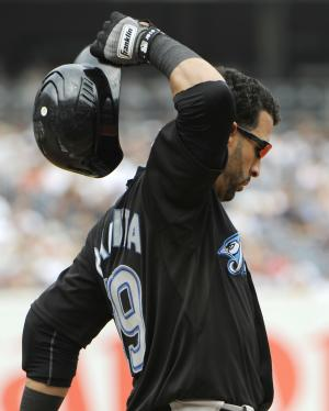Toronto Blue Jays' Jose Bautista reacts after flying out during the third inning of a baseball game against the New York Yankees, Sunday, Sept. 4, 2011, at Yankee Stadium in New York. (AP Photo/Bill Kostroun)