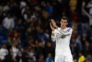 Real Madrid's Bale reacts at the end of their Champions League soccer match against Juventus in Madrid