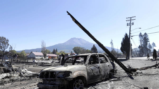 A burned pole leans on the shell of a car destroyed by a fire in Weed, Calif., Tuesday, Sept. 16, 2014. In just a few hours Monday, wind-driven flames destroyed or damaged roughly 100 homes, the saw mill and a church. (AP Photo/Rich Pedroncelli)