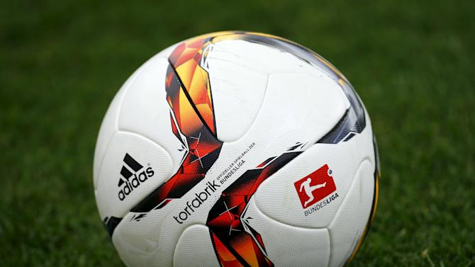 "The official match ball for Germany's first soccer division Bundesliga, called ""Goal Factory"" is pictured prior to the pre-season friendly soccer match between Eintracht Frankfurt and Japan's J-League club FC Tokyo in Frankfurt"