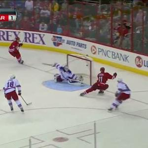 Jordan Staal and Jiri Tlusty work give and go