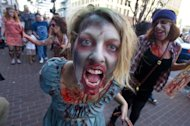 Fans participate in a ''Zombie Walk'' on July 13, 2012 in San Diego. Hackers caused a bizarre alert in the US state of Montana by broadcasting a warning about zombies attacking the living, local television channels said