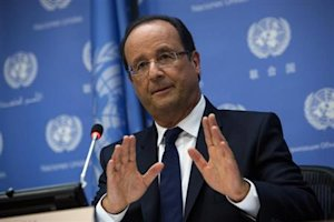 French President Hollande speaks during a news conference during the UN General Assembly at UN Headquarters in New York