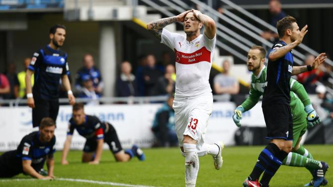 VFB Stuttgart's Ginczek reacts after a missed opportunity against SC Paderborn during their German Bundesliga match in Paderborn