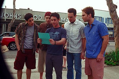 Jason Biggs , Eddie Kaye Thomas , Thomas Ian Nicholas , Chris Klein and Seann William Scott in Universal's American Pie 2