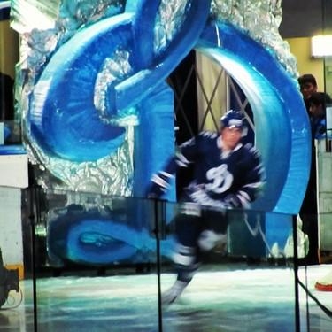 "Dynamo Moscow player skates onto the ice through the ""Big D"""