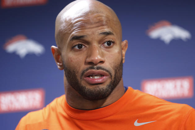 Denver Broncos middle linebacker Paris Lenon speaks during a news conference at the Denver Broncos NFL football training facility in Englewood, Colo., on Monday, Jan. 13, 2014. The Broncos are schedul
