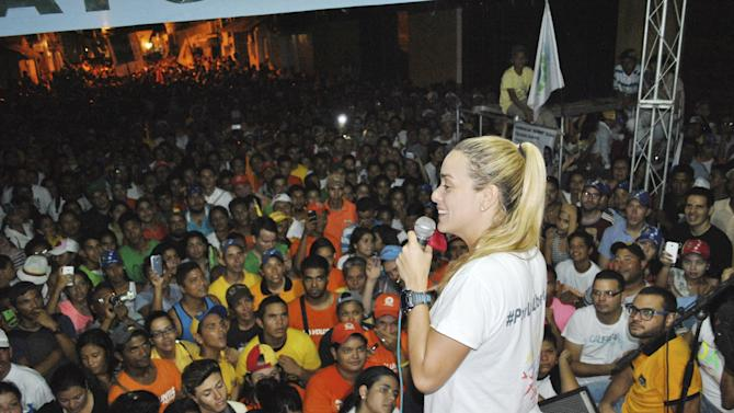 Lilian Tintori, wife of jailed opposition leader Leopoldo Lopez, speaks during a campaign rally in Altagracia de Orituco at the state of Guarico