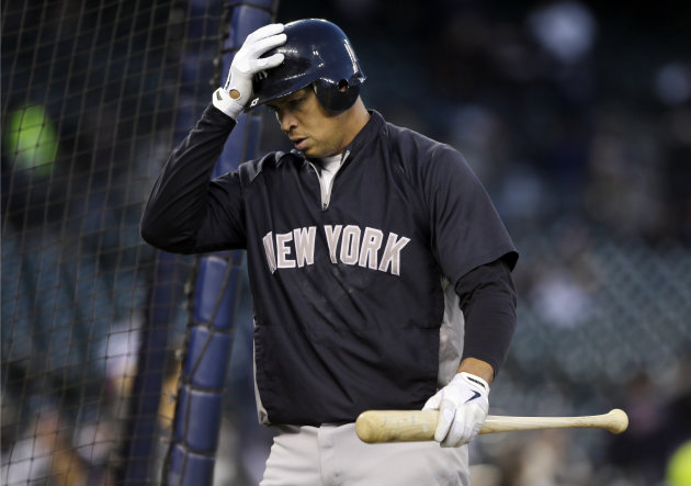 New York Yankees&#39; Alex Rodriguez walks out of the batting cage following batting practice before the start of Game 3 of the American League championship series against the Detroit Tigers Tuesday, Oct. 16, 2012, in Detroit. (AP Photo/Matt Slocum)