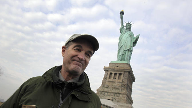 David Luchsinger, superintendent of Statue of Liberty National Monument, and last resident of Liberty Island, poses for a photo during a tour of the venue, in New York,  Friday, Nov. 30, 2012. Tourists in New York will miss out for a while on one of the hallmarks of a visit to New York,  seeing the Statue of Liberty up close. Though the statue itself survived Superstorm Sandy intact, damage to buildings and Liberty Island's power and heating systems means the island will remain closed for now, and authorities don't have an estimate on when it will reopen. (AP Photo/Richard Drew)