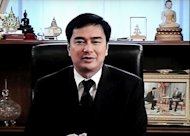 A television grab shows Thai Prime Minister Abhisit Vejjajiva speaking during an announcement of the house dissolution at the Government House in Bangkok. Thailand's election countdown began on Monday when the government set July 3 for what promises to be a tough battle, after the king endorsed a decree to dissolve the lower house of parliament