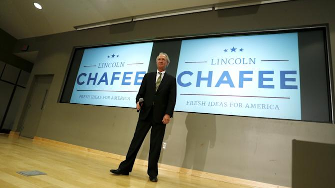 Chafee announces he will seek the Democratic nomination to be U.S. president during an address to the George Mason University (GMU) School of Policy, Government, and International Affairs at their campus in Arlington, Virginia