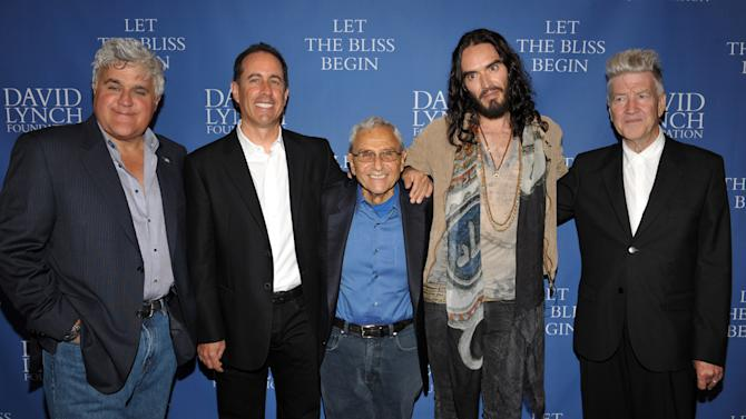COMMERCIAL IMAGE - From left, Jay Leno, Jerry Seinfeld, George Shapiro, Russell Brand and David Lynch arrive at David Lynch Foundation:  A Night of Comedy honoring George Shapiro at the Beverly Wilshire Hotel on Saturday June 30, 2012 in Beverly Hills, Calif. (Photo by John Shearer/Invision for David Lynch Foundation/AP Images)
