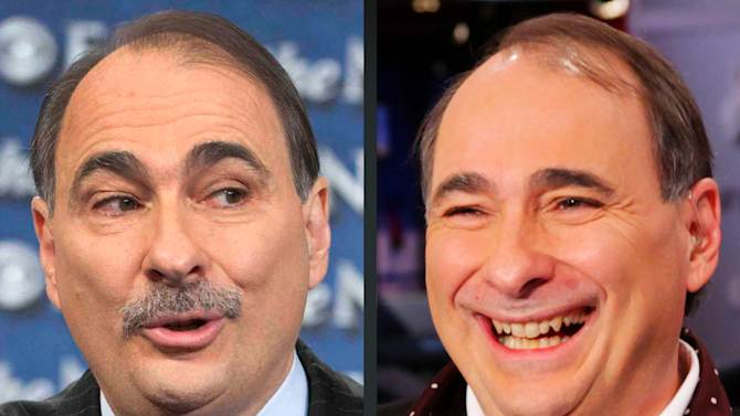 "This combination of Sunday, Oct. 7, 2012, left, and Friday, Dec. 7, 2012 photos provided by CBS News and MSNBC shows David Axelrod, adviser to the Obama campaign in Washington and New York. Axelrod had his trademark moustache shaved Friday on MSNBC after the hosts of ""Morning Joe"" helped raise $1 million for his epilepsy charity. (AP Photo/CBS News, Chris Usher, MSNBC, Morning Joe, Louis Burgdorf)"