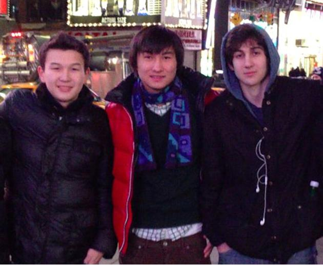This undated photo added on April 18, 2013 to the VK page of Dias Kadyrbayev shows, from left, Azamat Tazhayakov and Dias Kadyrbayev, from Kazakhstan, with Boston Marathon bombing suspect Dzhokhar Tsa