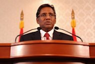 Maldives President Mohamed Waheed speaks to reporters at his office in Male on February 11. The Commonwealth on Wednesday called on the Maldives to hold elections this year following the ousting of the president, but stopped short of suspending the archipelago's membership