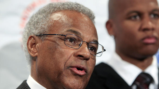 FILE - In this Thursday, Oct. 20, 2011 file photo, Billy Hunter, executive director of the NBA players union, speaks during a news conference following NBA labor talks in New York. Hunter is being placed on an indefinite leave of absence as executive director of the NBA players' association, following a report that was critical of his leadership and decision making and urged players to consider his future with the organization, according to reports Friday, Feb. 1, 2013. (AP Photo/Frank Franklin II, File)