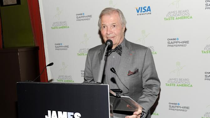 "IMAGE DISTRIBUTED FOR CHASE SAPPHIRE PREFERRED - Taste America honorary chair, chef Jacques Pepin speaks at the kick-off event for the James Beard Foundation's ""Taste America"" traveling food festival presented by Chase Sapphire Preferred Visa Signature at the James Beard House on Wednesday, June 12, 2013 in New York City, New York. (Photo by Evan Agostini/Invision for Chase Sapphire Preferred/AP Images)"