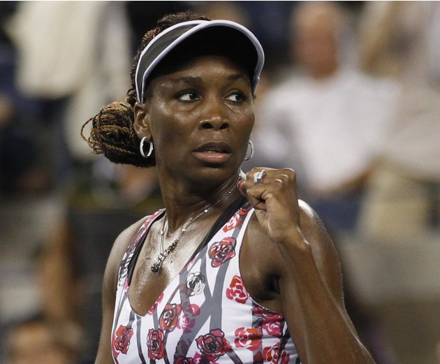 Williams of the U.S. reacts to winning the second set against Kerber of Germany during their match at the US Open women's singles tennis tournament in New York