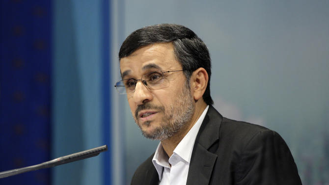 "Iranian President Mahmoud Ahmadinejad speaks at a press conference in Tehran, Iran, Tuesday, Oct. 2, 2012. Ahmadinejad blamed the steep drop in Iran's currency Tuesday to ""psychological pressures"" linked to Western sanctions over Tehran's nuclear program. The remarks were part of his attempt to deflect criticism from political rivals that his government's policies also have contributed to the nosedive of the Iranian rial, which has lost more than half its value against the U.S. dollar this year and has sharply pushed up costs for many imported goods. (AP Photo/Vahid Salemi)"