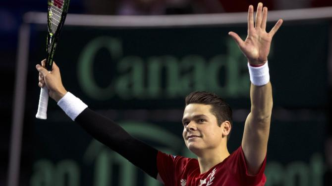 Canada's Raonic reacts after beating Japan's Ito during their Davis Cup tennis match at the Doug Mitchell Thunderbird Sports Centre in Vancouver