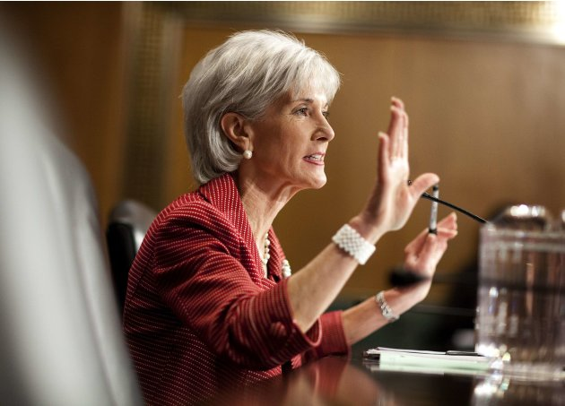File photo of Secretary of Health and Human Services Kathleen Sebelius as she testifies to the Senate Finance Committee