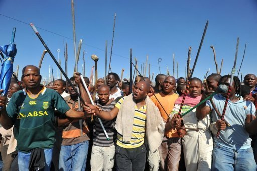 &lt;p&gt;Thousands of mine workers march to the Lonmin mine in Marikana, South Africa, to try and stop other miners from going to work, September 10, 2012. Up to 4,000 workers at the Marikana platinum mine -- the scene of deadly violence in August -- returned to work on Friday after downing tools a day before, managers said.&lt;/p&gt;