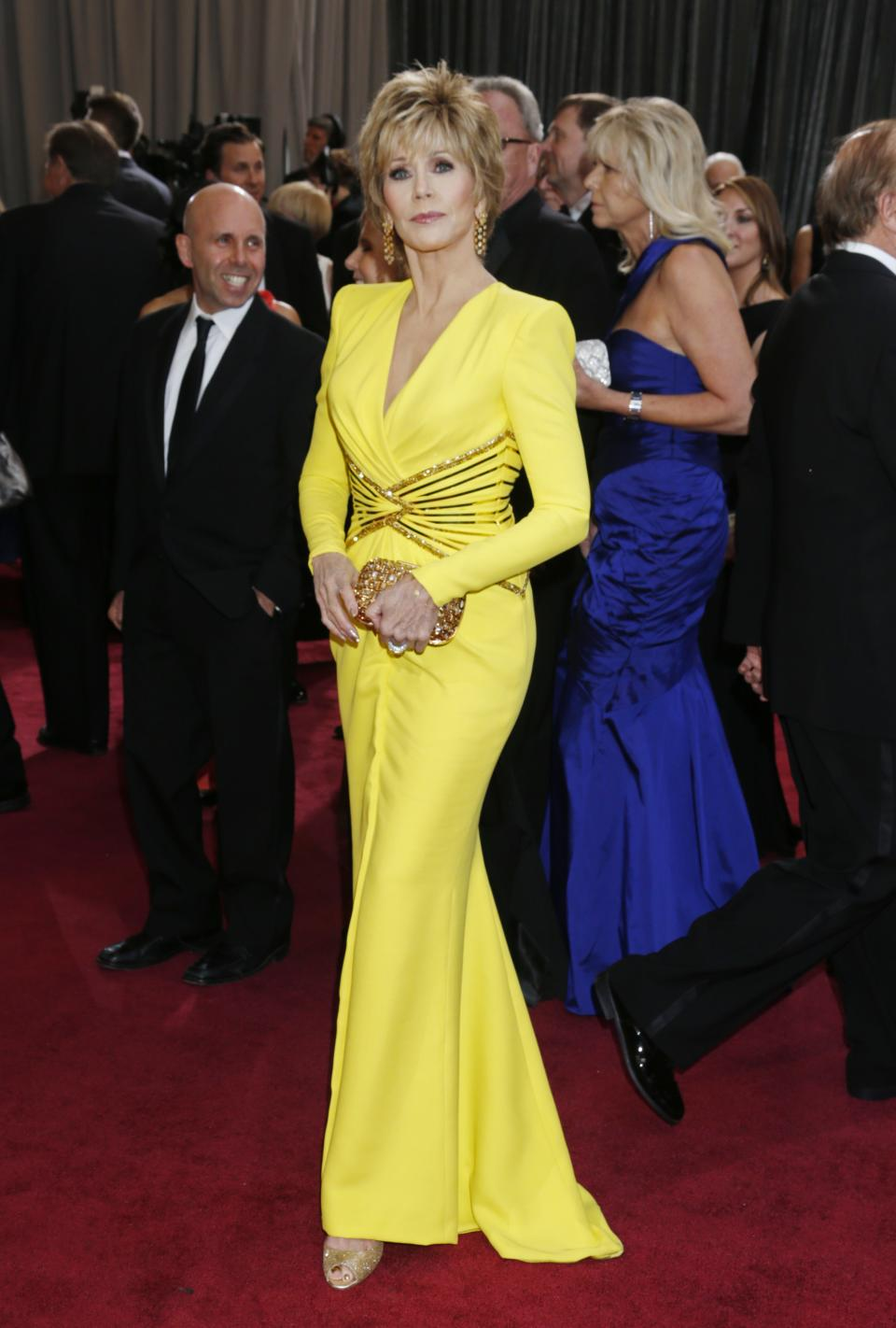 Jane Fonda arrives at the Oscars at the Dolby Theatre on Sunday Feb. 24, 2013, in Los Angeles. (Photo by Todd Williamson/Invision/AP)