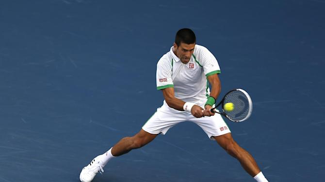 Novak Djokovic of Serbia returns to Juan Martin Del Potro of Argentina during the semi-finals of the Dubai Duty Free Tennis Championships in Dubai, United Arab Emirates, Monday, March. 1, 2013. (AP Photo/Regi Varghese)