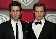"Actors Zachary Quinto (L) and Chris Pine at the InStyle/Warner Bros. party in 2009. Pine and Quinto, who played Captain James T. Kirk and Spock in the 2009 film reboot of ""Star Trek"", will give voice to those characters in a new videogame"