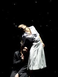 "In this Oct. 29, 2012 photo provided by the Opernhaus Frankfurt Christian Gerhaher in the role of Pelleas, left, and Christiane Karg as Melisande perform during a dress rehearsal for the Claude Debussy's opera ""Pelleas et Melisande"" at the opera in Frankfurt, central Germany. (AP Photo/Opernhaus Frankfurt, Monika Rittershaus) NO SALES - ONE TIME USE ONLY NO ARCHIVE"