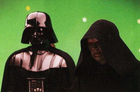 Ian McDiarmid as the Emperor with Darth Vader