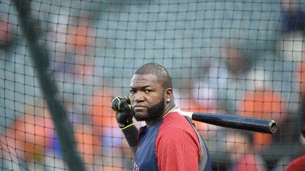 Boston Red Sox's David Ortiz looks on during batting practice before a baseball game against the Baltimore Orioles, Saturday, Sept. 20, 2014, in Baltimore. (AP Photo/Nick Wass)