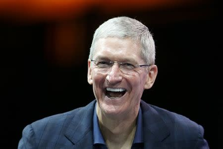 File photo of Apple CEO Tim Cook speaking at the WSJD Live conference in Laguna Beach