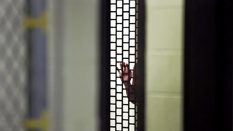 In this June 26, 2014 photo, a man being booked into the Cook County Jail grabs the fence of a holding pen after he was arrested the night before in Chicago. The Chicago complex, with more than 10,600 inmates, is one of the country's largest single-site jails. Cook County estimates around 30 percent of inmates have a serious mental illness. (AP Photo/Charles Rex Arbogast)