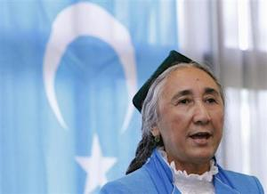 Uighur leader Kadeer delivers a speech at the fourth General Assembly of the World Uighur Congress in Tokyo