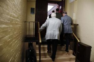 U.S. House Republicans arrive for a closed-door caucus meeting to discuss the current U.S. government shutdown in Washington