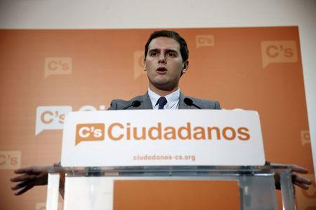 Ciudadanos party leader Albert Rivera speaks a news conference in Madrid