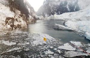 The Richardson Highway runs through the Keystone Canyon in the aftermath of a January 24 avalanche that closed the highway near Valdez, Alaska