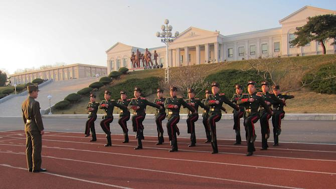 In this Thursday, April 18, 2013 photo, students at the Mangyongdae Revolutionary School, in Pyongyang, North Korea march in place. The school is run by the military and school administrators say it was originally set up in 1947 for children who had lost their parents during Korea's fight for liberation from its Japanese occupiers. (AP Photo)
